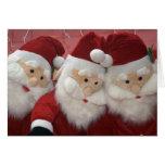 Tarjeta de Navidad tres mullida de Santas