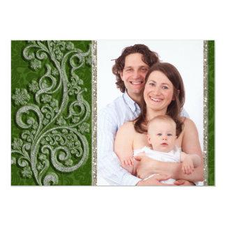 """Tarjeta de Navidad verde de la foto de la plata de Invitación 5"""" X 7"""""""