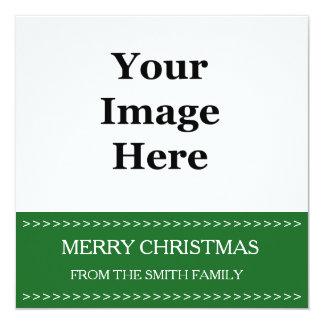 """tarjeta de Navidad verde del cuadrado de la foto. Invitación 5.25"""" X 5.25"""""""