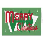 Tarjeta de Navidad verde retra