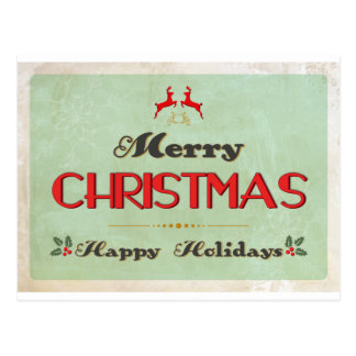 Tarjeta de Navidad verde retra Postales