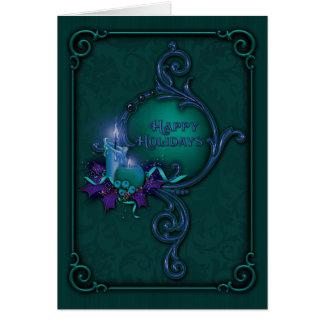 Tarjeta de Navidad verde y púrpura de la luz de