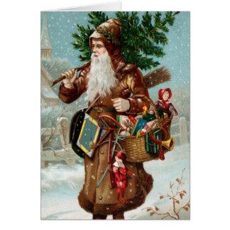 Tarjeta de Navidad vieja de Santa de la moda
