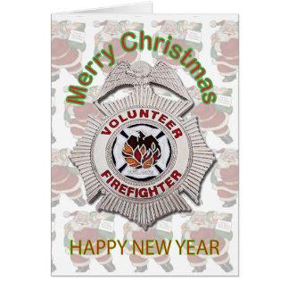 Tarjeta de Navidad voluntaria del bombero