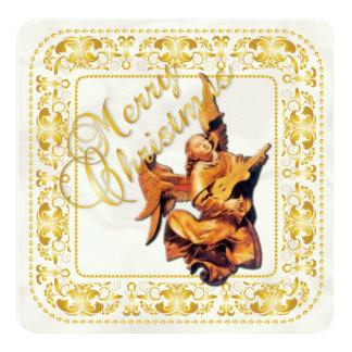 """Tarjeta de Navidad y ornamento del ángel - oro - Invitación 5.25"""" X 5.25"""""""