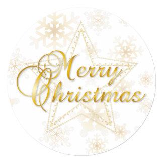 """Tarjeta de Navidad y ornamento - oro - tarjeta Invitación 5.25"""" X 5.25"""""""