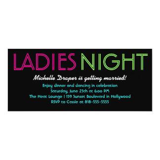 Tarjeta de neón de la noche de las señoras invitación 10,1 x 23,5 cm