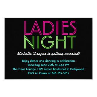 Tarjeta de neón de la noche de las señoras anuncios personalizados