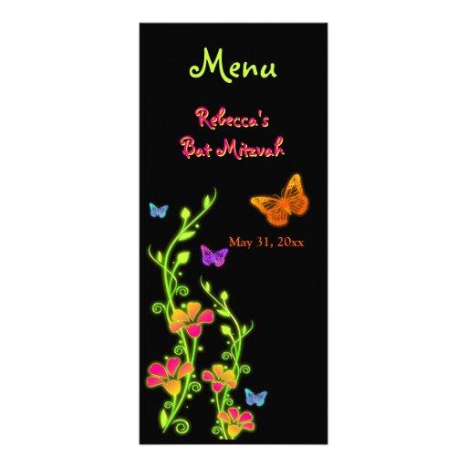 Tarjeta de neón del menú de las mariposas y de las tarjeta publicitaria a todo color