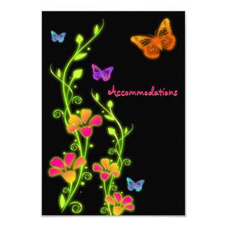 Tarjeta de neón del recinto de Buttterflies y de Invitación 8,9 X 12,7 Cm
