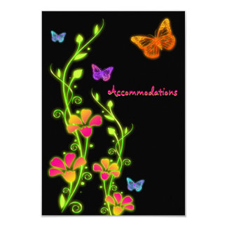 """Tarjeta de neón del recinto de Buttterflies y de Invitación 3.5"""" X 5"""""""