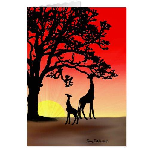 Tarjeta de nota africana de la puesta del sol