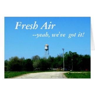 Tarjeta de nota:  Aire fresco, --¡sí, lo tenemos!
