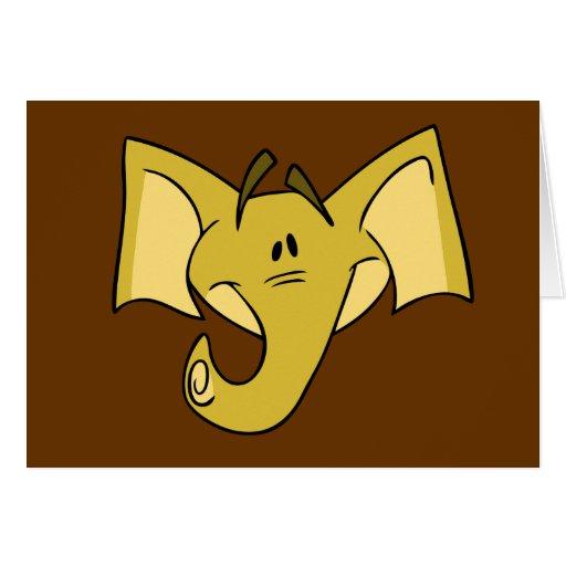 Tarjeta de nota amarilla del elefante