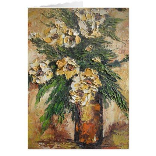 Tarjeta de nota Ana Hayes que pinta las flores ama