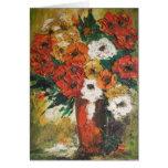 Tarjeta de nota Ana Hayes que pinta las flores roj