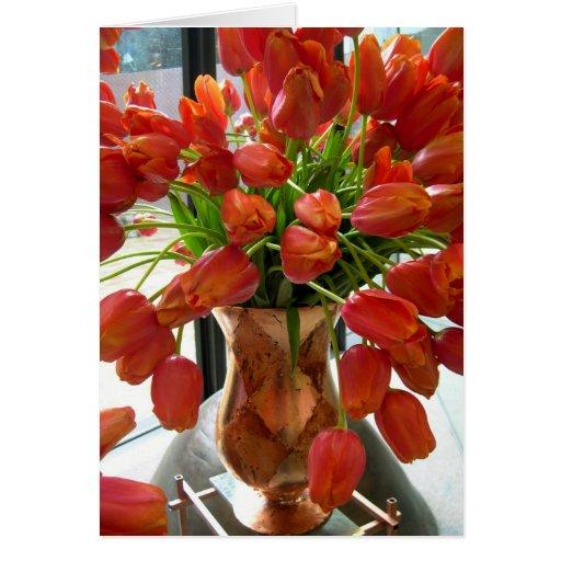 Tarjeta de nota anaranjada del tulipán