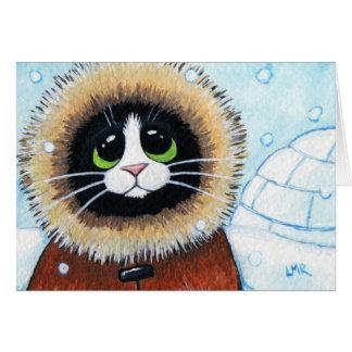 Tarjeta de nota animal esquimal del arte del gato