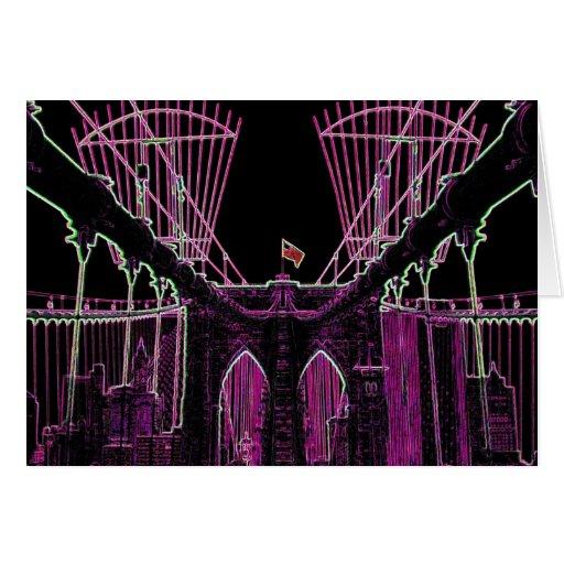 TARJETA DE NOTA:  Arte del puente de Brooklyn - ro
