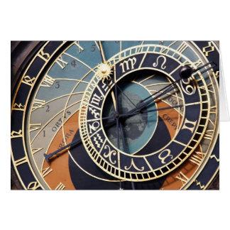 tarjeta de nota astronómica del reloj de Praga