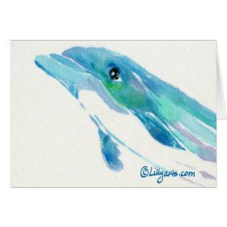 Tarjeta de nota azul de la acuarela del delfín