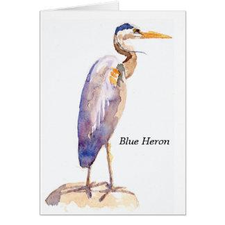 Tarjeta de nota azul de la garza