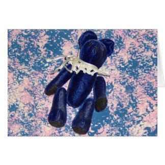 Tarjeta de nota azul del oso de peluche