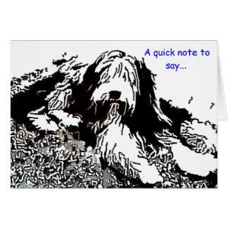 Tarjeta de nota barbuda del collie