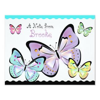 """Tarjeta de nota brillante y hermosa de la mariposa invitación 4.25"""" x 5.5"""""""