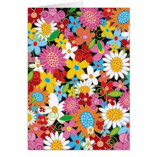 Tarjeta de nota colorida caprichosa del jardín de