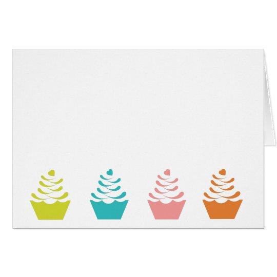 Tarjeta de nota colorida de la magdalena