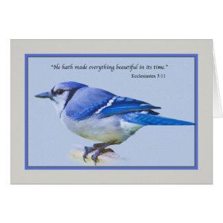 Tarjeta de nota con el pájaro del arrendajo azul