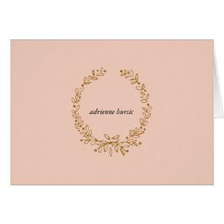 Tarjeta de nota con monograma - oro