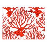 tarjeta de nota coralina postales