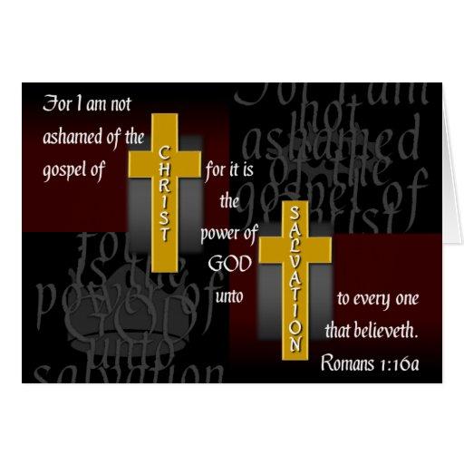 Tarjeta de nota cristiana no avergonzada del verso