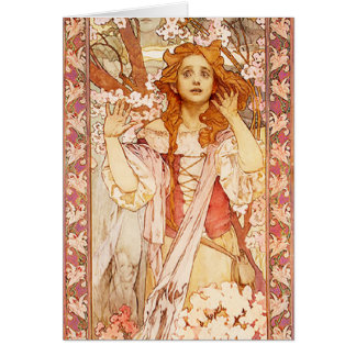 Tarjeta de nota de Alfonso Mucha Juana de Arco