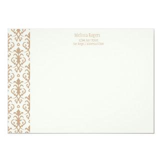 Tarjeta de nota de color caqui del damasco invitación 12,7 x 17,8 cm