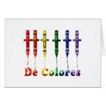 Tarjeta de nota de Crayon De Colores con los