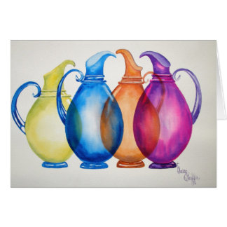 Tarjeta de nota de cristal coloreada de las jarras