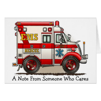 Tarjeta de nota de la ambulancia del camión de la