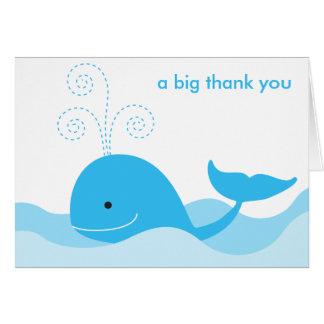 Tarjeta de nota de la ballena azul