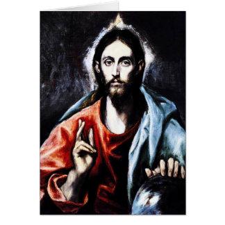 Tarjeta de nota de la bendición de El Greco Cristo