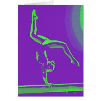Tarjeta de nota de la buena suerte del gimnasta
