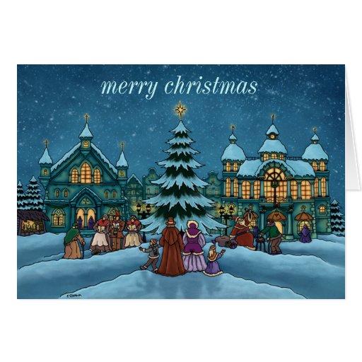 tarjeta de nota de la ciudad del navidad básica