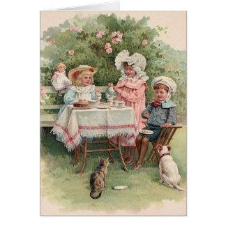 Tarjeta de nota de la fiesta del té de los niños d