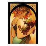 Tarjeta de nota de la fruta de Alfonso Mucha