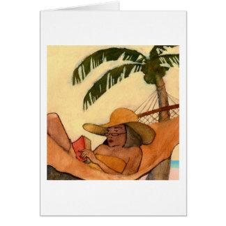 Tarjeta de nota de la lectura de la playa