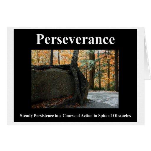 Tarjeta de nota de la perseverencia