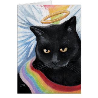 Tarjeta de nota de la pintura del gato del ángel d