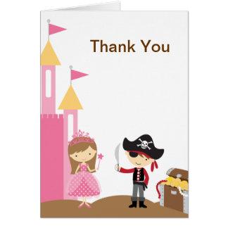 Tarjeta de nota de la princesa y del pirata
